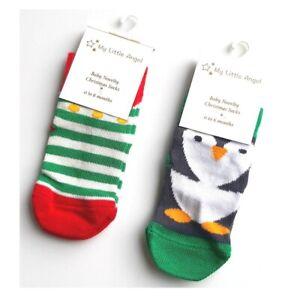Baby Infant Festive Christmas Socks - Pack of 2 - Penguin & Elf - Boy Girl Gift