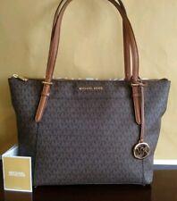 NWT Authentic Michael Kors Ciara Canvas Top Zip Tote Handbag MK Brown