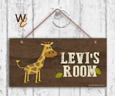 Giraffe Sign, Woodland Personalized Sign, Kid's Name, Kids Door Sign, 5x10 Sign