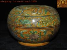 "6""Rare China yellow glaze Wucai porcelain peach Crane bird Storage Pot Box Boxes"