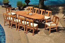 "11pc Grade-A Teak Dining Set 94"" Oval Table 10 Osborne Chair Outdoor Patio"