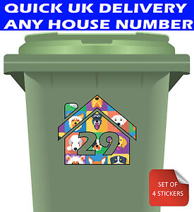 Bin Number Stickers for Wheelie Bins - House Number Only in Dog Design - 4 Pack
