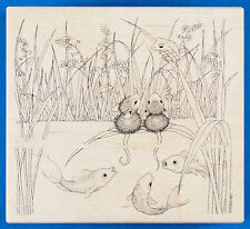 House Mouse FISH TALES Rubber Stamp - Koi Pond or Lake with Flowers, Grass, Frog