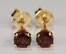 BEENJEWELED GENUINE MINED CHAMPAGNE ZIRCON EARRINGS~14 KT YELLOW GOLD~4MM