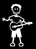 MY STICK FIGURE FAMILY Car Window StIckers Male Guitar M24