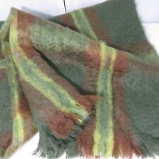 New Vintage Glen Cree Made In Scotland Mohair Lap Blanket Green Brown