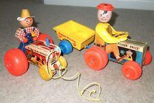 Vintage 1960s Fisher Price Farm Tractors Lot.#732 Happy Hauler & Tractor #629