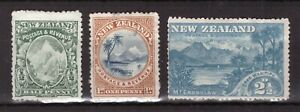 New Zealand early MINT STAMPS ½d, 1d, 2½d Mountains