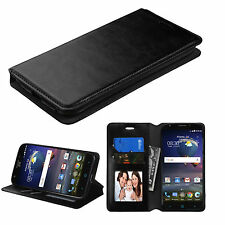 For ZTE Grand X Max 2 Max Duo 4G Kirk Flip Wallet Leather Case Cover Pouch BLACK