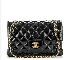 CHANEL Vintage Patent Small Double Sided Flap Black CHANEL Vintage Black Bag