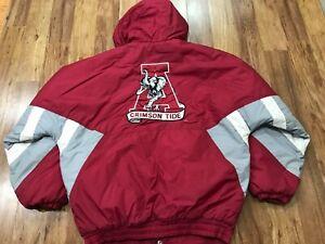 MEDIUM - Vtg 90s Alabama Crimson Tide Starter Hooded Quilted Snap Zip Up Jacket