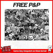 VW STICKER BOMB SHEET- 1M X 180MM (VW/ EURO/ DRIFT/JDM/ SUNSTRIP) BLACK & WHITE