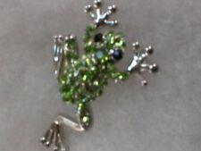 Brooch W/ Silverplate Legs Lime Green Crystal Tree Frog