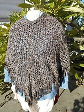 Vintage walnut and white poncho, with fringe. Hand Crochet.