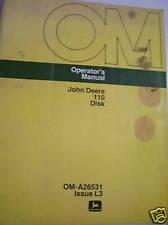 Original John Deere Operators Manual-110 Disk