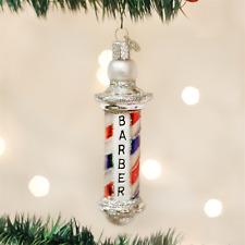 OLD WORLD CHRISTMAS BARBER POLE GLASS CHRISTMAS ORNAMENT 36126