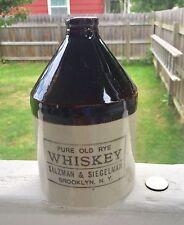 "Antique Whiskey Jug 1/2 Gal.""Pure Old Rye Whiskey"" Salzman&Siegelman Brooklyn NY"