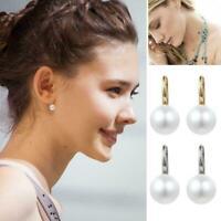 Fashion Women Lady Elegant Pearl Crystal Ear Stud Earrings Gold/Silver E9V5