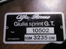 Alfa Romeo Id Nameplate 10502 3235 Bertone Giulia Sprint G.T.s37