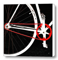 Bike In Black White And Red No 2, Large Abstract Fine Art Canvas Print, Wall Art