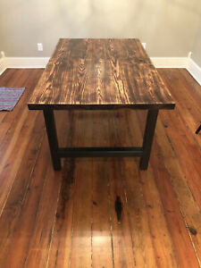 Vintage Red Oak Table Top With Sturdy Metal Legs