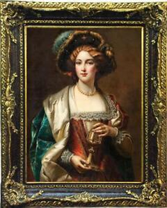 """Old Master-Art Antique Oil Painting art Noblewoman girl on canvas 24""""X36"""""""