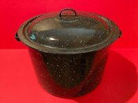 10 Quart Enamel Black Speckle Stock Pot with Lid