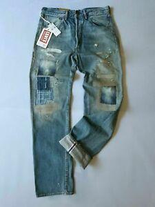 """$298 VINTAGE LEVIS 501""""1955"""" SELVEDGE BLUE PATCHWORK MENS JEANS (NWT)"""