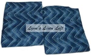 RALPH LAUREN Indigo Modern Herringbone Blue STANDARD PILLOWCASES NEW