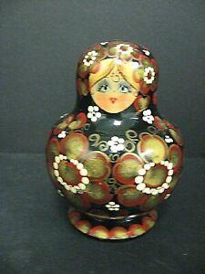 "Vtg 10 Piece Russian Stacking Nesting Dolls 5"" vtg hand painted nesting doll lot"