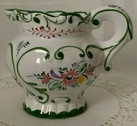 RCCL Pottery Vintage Portugal Ceramic Hand Painted Floral Green Pitcher Signed