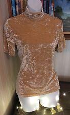 Vintage 1990s Peach Beige Crush Velvet Velour Short Sleeve High Neck Top Size 12