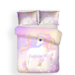 Linen Pink Unicorn Duvet Quilt Doona Cover Set Queen/Double/Single/King Bed