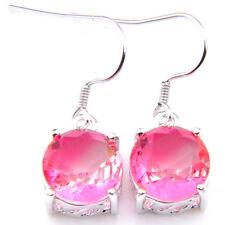 Sweet Pink Rose Round Bi Colored Tourmaline Gemstone Silver Dangle Drop Earrings