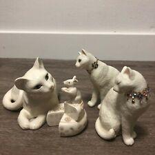 Lenox First Kiss Cat 24K Collar & Making Friends Porcelain Cat/Mouse Figurines