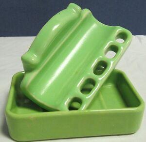 Vintage Jadite Jadeite Green Bathroom-Soap Holder & Toothbrush Holder  Ceramic