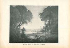Lever de Soleil au bord du Rhin Dessin de Krieger GRAVURE ANTIQUE OLD PRINT 1914