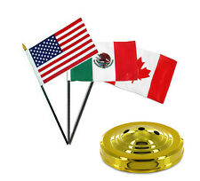 "USA American / Mexico / Canada Flags 4""x6"" Desk Set Table Stick Gold Base"