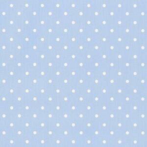 Clarke and Clarke Dotty Cotton Powder Blue Fabric - Brand new per metre