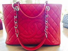 chanel Handbag Grand Shopping Tote GST Purse Shoulder Bag Red Caviar Quilted Cc