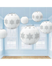 6 x White & Silver Snowflake Hanging Paper Lantern Christmas Party Decoration