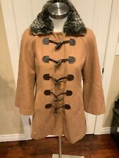 0b322857c287 Elevenses Anthropologie Tan Coat W/ Toggles & Removable Faux Fur Collar, ...