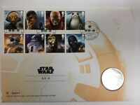 Star Wars The Last Jedi Royal Mail First Day Stamp Cover And BB-8 coin Mint