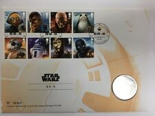 Star Wars The Last Jedi Royal Mail First Day Stamp and coin Cover BB-8 Mint