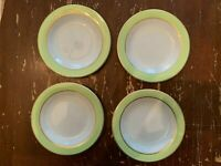Vintage Pyrex Lime Green With Gold Trim 6.75 Inch Dessert Plate Set Of 4 N