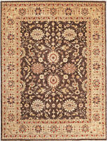 9X12 Hand-Knotted Oushak Carpet Traditional Chcolate Fine Wool Area Rug D19208