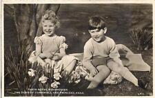 Duke of Cornwall (Prince) Charles & Princess Anne Vtg 1950s Real Photo Postcard