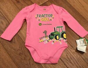 "NWT Infant Girl's 3-6 Mo.John Deere Long Sleeve Pink Body Suit ""Tractor Girl"""