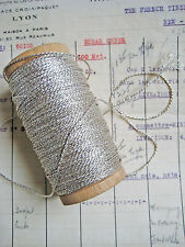 """4 yd Vintage/Antique French Silver Metallic Rope Cord Trim 1/32"""" Lampshade"""