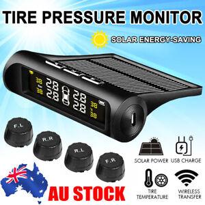 Solar Wireless TPMS Car Tire Tyre Pressure Monitor Monitoring System + 4 Sensors